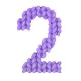 Ο αριθμός 2 αλφάβητο δύο, χρωματίζει την πορφύρα Στοκ Εικόνα