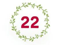 Ο αριθμός είκοσι δύο 22 στο κόκκινο χρώμα στο άσπρο υπόβαθρο απεικόνιση αποθεμάτων