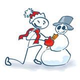 Ο αριθμός ραβδιών χτίζει έναν χιονάνθρωπο Στοκ Φωτογραφίες