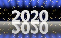 ο αριθμός του 2020 με χρυσό ακτινοβολεί κομφετί απεικόνιση αποθεμάτων
