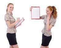 Ο αρκετά νέος υπάλληλος με το έγγραφο που απομονώνεται στο λευκό Στοκ Φωτογραφία