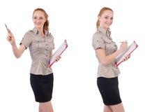 Ο αρκετά νέος υπάλληλος με το έγγραφο που απομονώνεται στο λευκό Στοκ Εικόνες