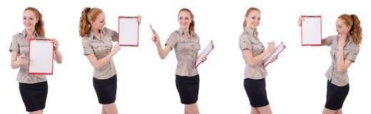 Ο αρκετά νέος υπάλληλος με το έγγραφο που απομονώνεται στο λευκό Στοκ Εικόνα