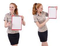 Ο αρκετά νέος υπάλληλος με το έγγραφο που απομονώνεται στο λευκό Στοκ εικόνα με δικαίωμα ελεύθερης χρήσης