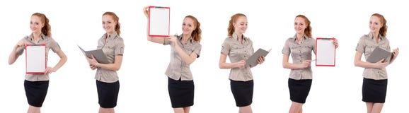 Ο αρκετά νέος υπάλληλος με το έγγραφο που απομονώνεται στο λευκό Στοκ Φωτογραφίες