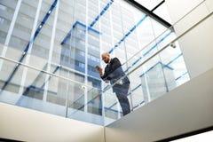 Ο αρσενικός υπερήφανος επιχειρηματίας κουβεντιάζει στο κινητό τηλέφωνο κατά τη διάρκεια του σπασίματος εργασίας Στοκ φωτογραφία με δικαίωμα ελεύθερης χρήσης