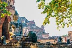 Ο αρχαίος Βούδας του ναού Wat Chaiwatthanaram Στοκ εικόνες με δικαίωμα ελεύθερης χρήσης