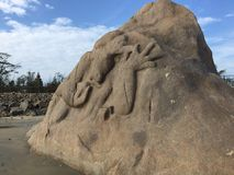 Ο αρχαίος βράχος Mahisasura στην παραλία Mahabalipuram Στοκ φωτογραφία με δικαίωμα ελεύθερης χρήσης