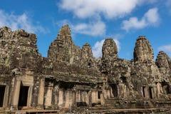 Ο αρχαίος ναός Bayon σε Angkor Thom σύνθετο κοντινό Siem συγκεντρώνει Στοκ Φωτογραφίες