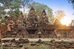 Ο αρχαίος 12ος αιώνας ναών σε Angkor Wat, Siem συγκεντρώνει, Καμπότζη Στοκ Εικόνες