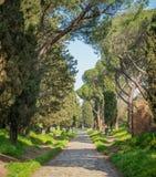 Ο αρχαίος τρόπος Appia Antica Appian σε ένα ηλιόλουστο πρωί άνοιξη, στη Ρώμη Στοκ Φωτογραφία