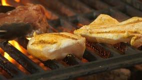 Ο αρχιμάγειρας γυρίζει το ψημένο στη σχάρα κρέας σε ένα καρύκευμα, turmeric, το πιπέρι, το αλάτι, δύο λωρίδες κοτόπουλου ή κρέας  απόθεμα βίντεο