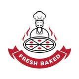 Ο αρχιμάγειρας εξυπηρετεί το φρέσκο ψημένο λογότυπο πιτσών Στοκ φωτογραφία με δικαίωμα ελεύθερης χρήσης