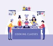Ο αρχιμάγειρας και οι άνθρωποι συγκεντρώνουν τα μαγειρεύοντας τρόφιμα ύφος επιτραπέζιων στο επίπεδο κινούμενων σχεδίων κουζινών ελεύθερη απεικόνιση δικαιώματος