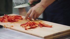 Ο αρχιμάγειρας κόβει το κόκκινο πιπέρι στον τέμνοντα πίνακα στη βιομηχανική κουζίνα απόθεμα βίντεο