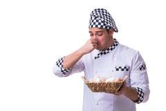 Ο αρχιμάγειρας με ένα καλάθι των αυγών Στοκ εικόνες με δικαίωμα ελεύθερης χρήσης