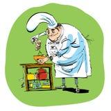 Ο αρχιμάγειρας προετοιμάζει τη ζύμη τροφίμων χτυπά ελαφρά ή ένα κοκτέιλ Στοκ Εικόνες