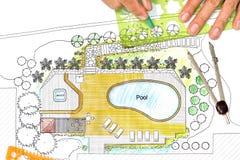 Ο αρχιτέκτονας τοπίου σχεδιάζει το σχέδιο κατωφλιών με τη λίμνη Στοκ φωτογραφία με δικαίωμα ελεύθερης χρήσης