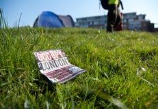 ο ασβέστης Λονδίνο σπιτιών θέσεων για κατασκήνωση καταλαμβάνει την περιοχή Στοκ Εικόνες