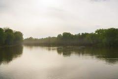 Ο δασικός ποταμός μπορεί απόγευμα ανατολή άνοιξη ποταμών τοπίων Στοκ Εικόνες