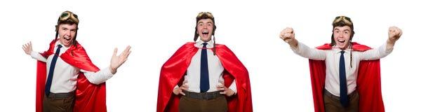 Ο αστείος ήρωας που απομονώνεται στο λευκό στοκ φωτογραφία