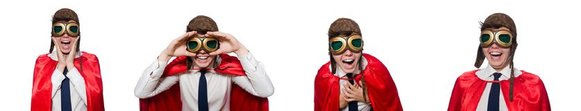 Ο αστείος ήρωας που απομονώνεται στο λευκό Στοκ Εικόνα