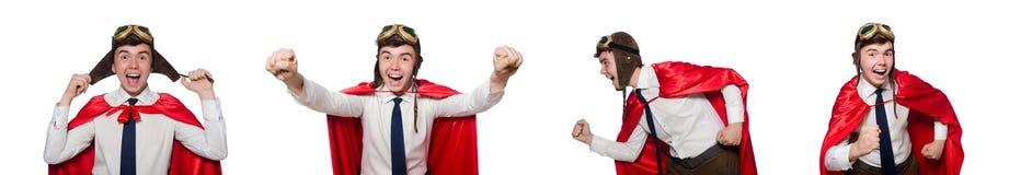 Ο αστείος ήρωας που απομονώνεται στο λευκό Στοκ Εικόνες