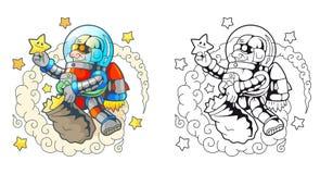 Ο αστείος αστροναύτης συλλέγει τα αστέρια Στοκ Φωτογραφία