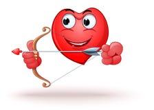 Ο αστείος διαμορφωμένος καρδιά χαρακτήρας κινούμενων σχεδίων πυροβολεί ένα τόξο διανυσματική απεικόνιση