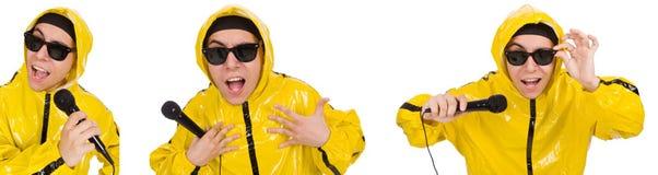 Ο αστείος εκτελεστής με mic που απομονώνεται στο λευκό Στοκ εικόνα με δικαίωμα ελεύθερης χρήσης