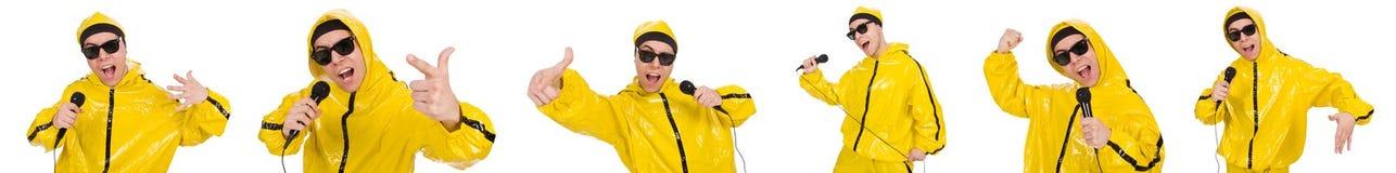 Ο αστείος εκτελεστής με mic που απομονώνεται στο λευκό Στοκ Εικόνα