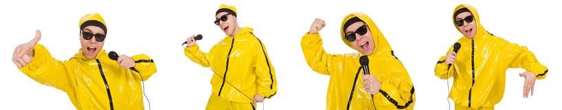 Ο αστείος εκτελεστής με mic που απομονώνεται στο λευκό Στοκ φωτογραφία με δικαίωμα ελεύθερης χρήσης