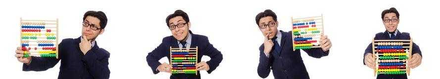 Ο αστείος επιχειρηματίας με τον άβακα που απομονώνεται στο λευκό Στοκ εικόνες με δικαίωμα ελεύθερης χρήσης