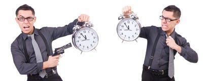 Ο αστείος επιχειρηματίας με το ρολόι και το πυροβόλο όπλο Στοκ Εικόνες