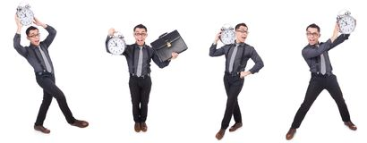 Ο αστείος επιχειρηματίας με το ρολόι που απομονώνεται στο λευκό Στοκ εικόνες με δικαίωμα ελεύθερης χρήσης