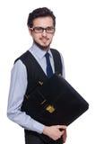 Ο αστείος επιχειρηματίας με το χαρτοφύλακα που απομονώνεται επάνω Στοκ εικόνα με δικαίωμα ελεύθερης χρήσης