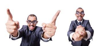 Ο αστείος επιχειρηματίας nerd που απομονώνεται στο λευκό Στοκ εικόνα με δικαίωμα ελεύθερης χρήσης