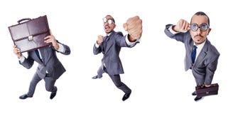 Ο αστείος επιχειρηματίας nerd που απομονώνεται στο λευκό Στοκ Φωτογραφία