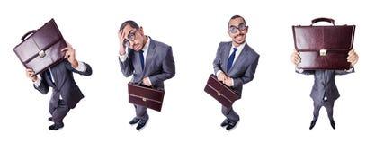Ο αστείος επιχειρηματίας nerd που απομονώνεται στο λευκό Στοκ φωτογραφίες με δικαίωμα ελεύθερης χρήσης