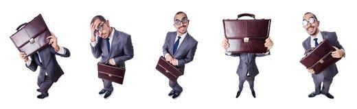Ο αστείος επιχειρηματίας nerd που απομονώνεται στο λευκό Στοκ Εικόνα
