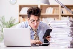 Ο αστείος λογιστής λογιστών που εργάζεται στο γραφείο Στοκ εικόνα με δικαίωμα ελεύθερης χρήσης