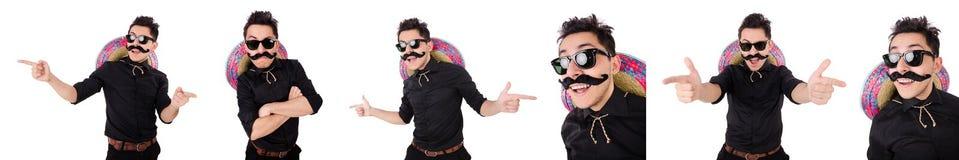 Ο αστείος μεξικανός με το σομπρέρο στην έννοια Στοκ Φωτογραφίες