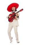 Ο αστείος μεξικανός στην κιθάρα εκμετάλλευσης κοστουμιών που απομονώνεται Στοκ Φωτογραφίες