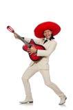 Ο αστείος μεξικανός στην κιθάρα εκμετάλλευσης κοστουμιών που απομονώνεται στο λευκό Στοκ φωτογραφία με δικαίωμα ελεύθερης χρήσης