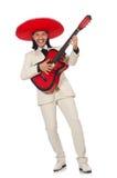 Ο αστείος μεξικανός στην κιθάρα εκμετάλλευσης κοστουμιών που απομονώνεται στο λευκό Στοκ Φωτογραφίες