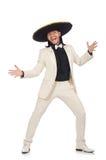 Ο αστείος μεξικανός στο κοστούμι και σομπρέρο που απομονώνεται στο λευκό Στοκ Εικόνα