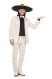 Ο αστείος μεξικανός στο κοστούμι και σομπρέρο που απομονώνεται στο λευκό Στοκ Φωτογραφίες