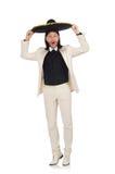Ο αστείος μεξικανός στο κοστούμι και σομπρέρο που απομονώνεται στο λευκό Στοκ Φωτογραφία