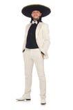 Ο αστείος μεξικανός στο κοστούμι και σομπρέρο που απομονώνεται στο λευκό Στοκ φωτογραφία με δικαίωμα ελεύθερης χρήσης