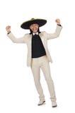 Ο αστείος μεξικανός στο κοστούμι και σομπρέρο που απομονώνεται στο λευκό Στοκ εικόνες με δικαίωμα ελεύθερης χρήσης